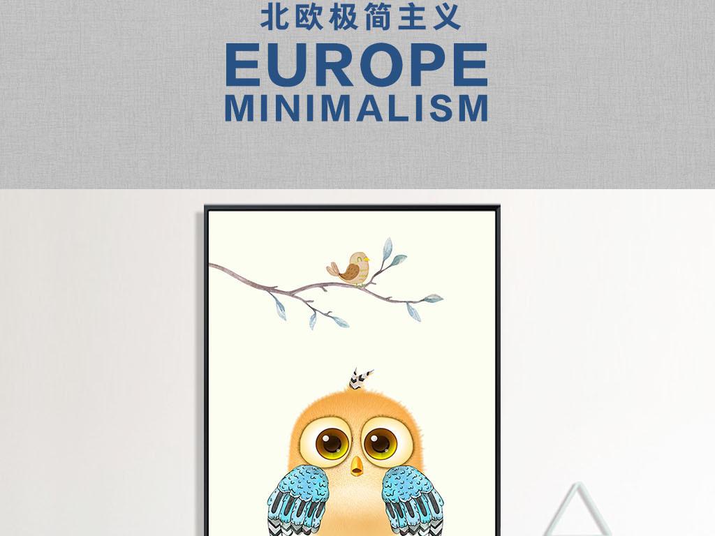 北欧现代手绘可爱小鸟装饰画吉祥鸟无框画