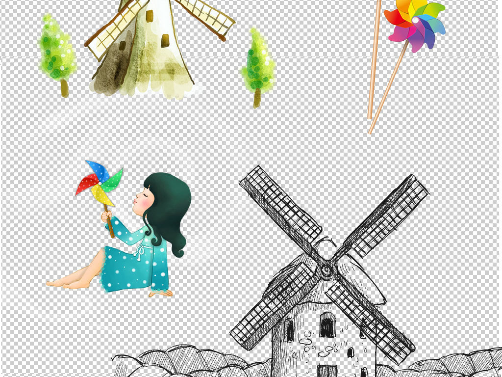 卡通多款手绘风车图片素材下载