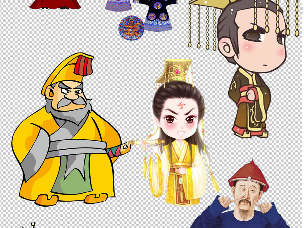 古代清朝商代卡通人物皇帝像海报素材