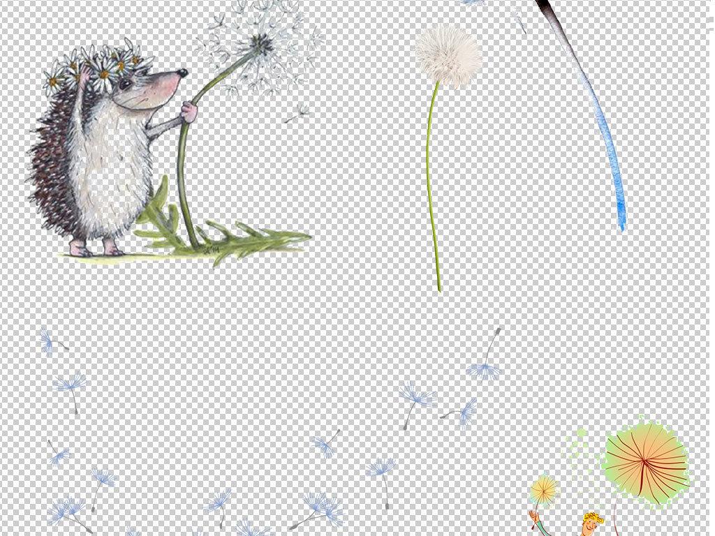 卡通手绘植物蒲公英png海报素材