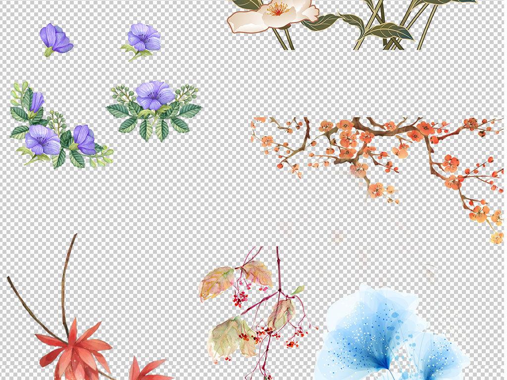 手绘鲜花清新唯美彩绘桃花素材集合