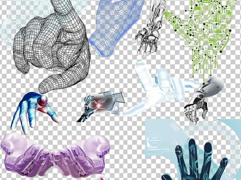设计作品简介: 蓝色高科技手势概念人工智能png免扣 位图, cmyk格式