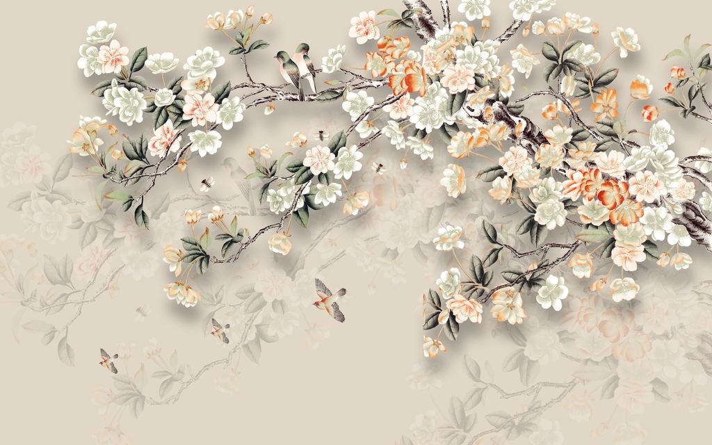 现代简约中式手绘工笔花鸟背景墙装饰画