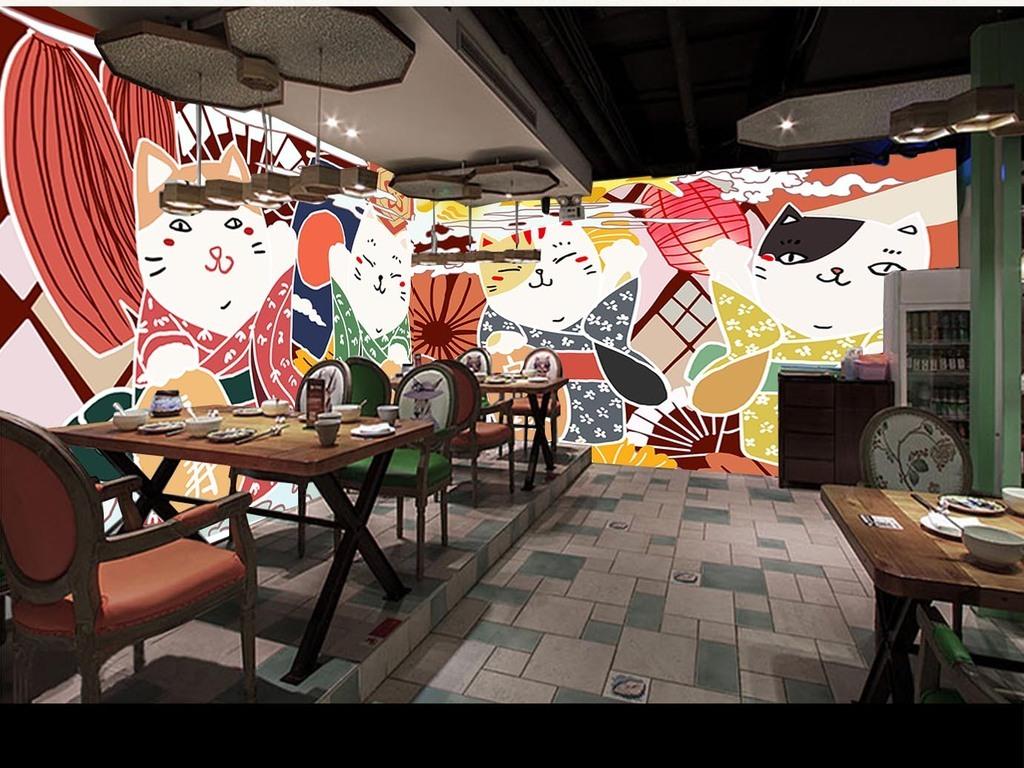 手绘招财猫料理寿司店背景墙
