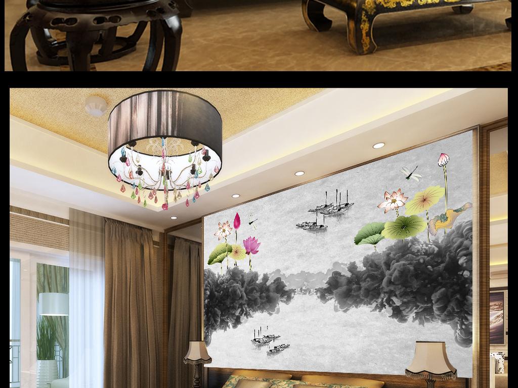水墨荷花唯美意境新中式电视背景墙装饰画