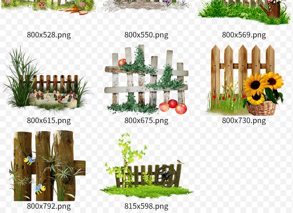 手绘围栏手绘栅栏木