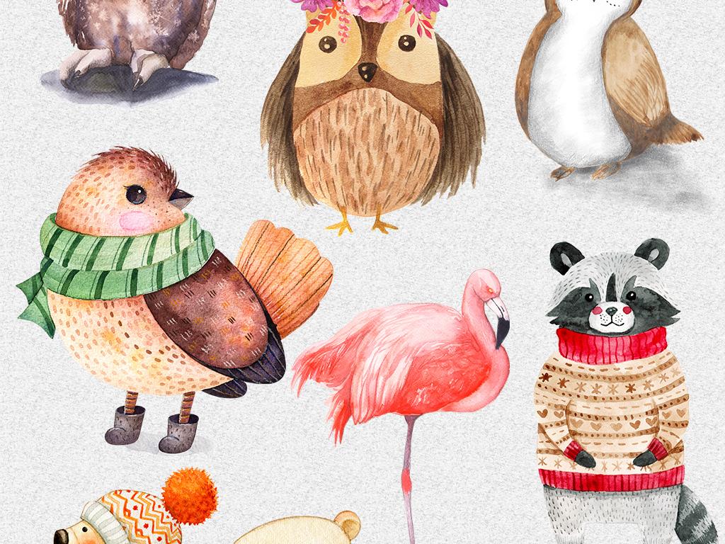 水彩动物唯美手绘设计素材水彩手绘动物手绘萌呆萌萌