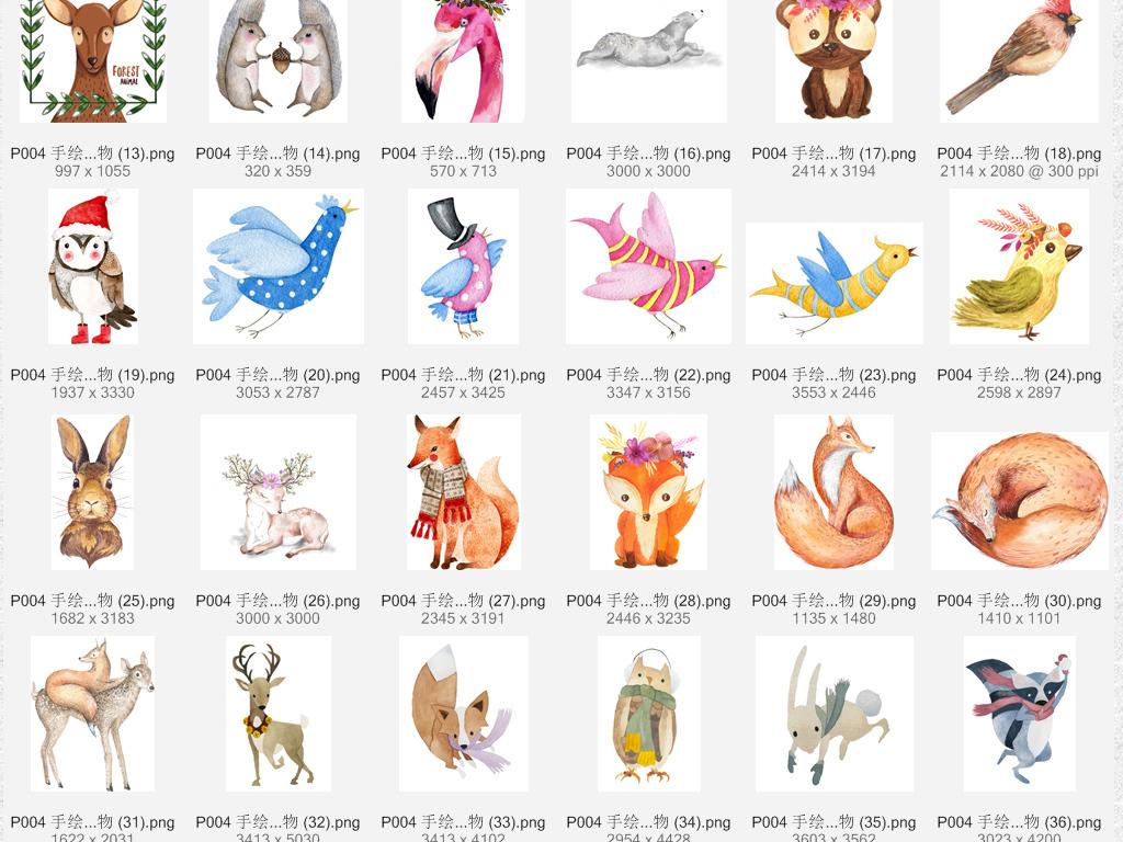 高清唯美手绘水彩森系动物png设计素材