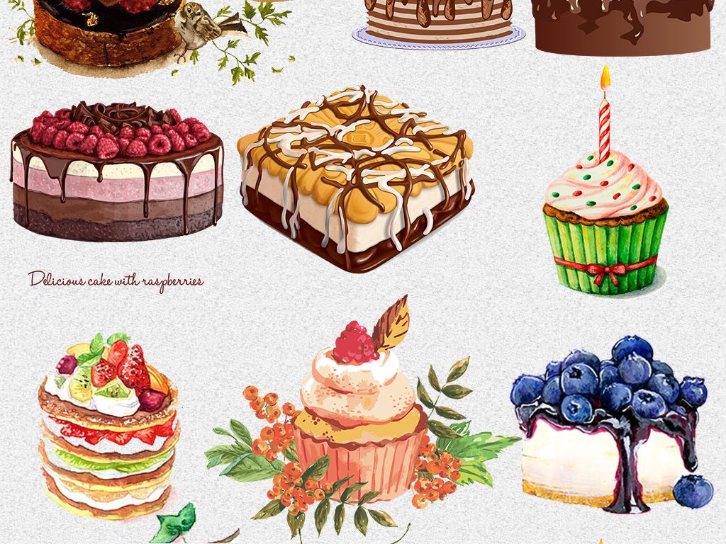唯美手绘水彩生日蛋糕甜点png免抠素材