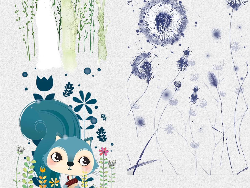 韩国手绘动物花边