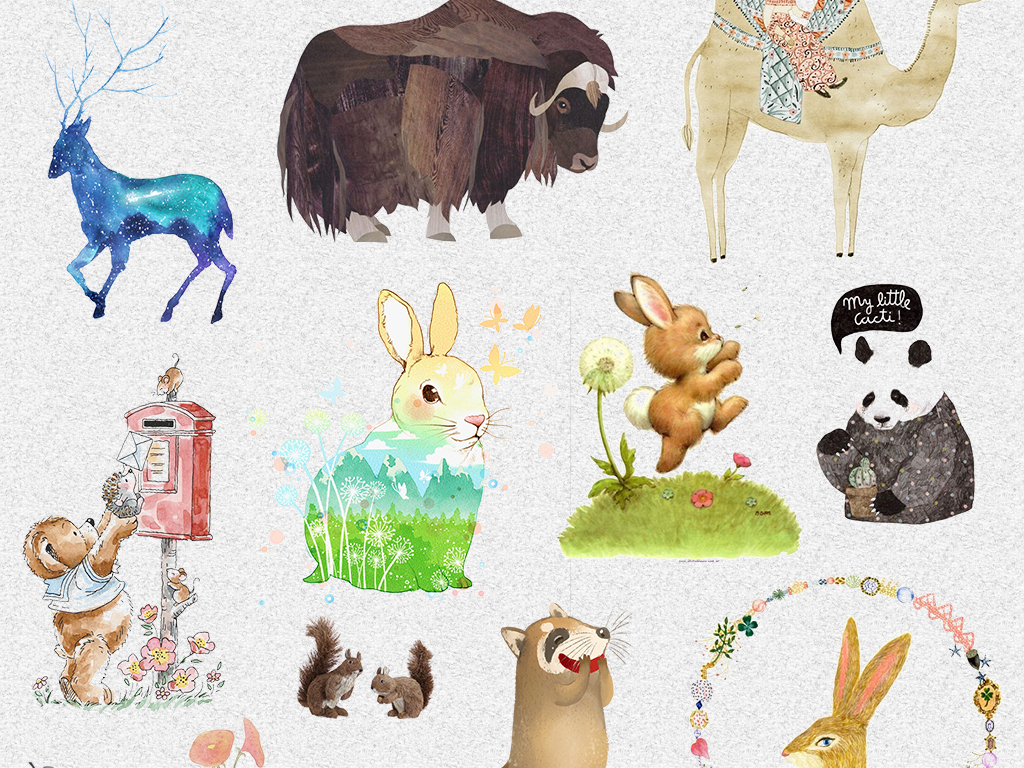 手绘卡通小动物动物卡通卡通动物熊卡通小动物图片