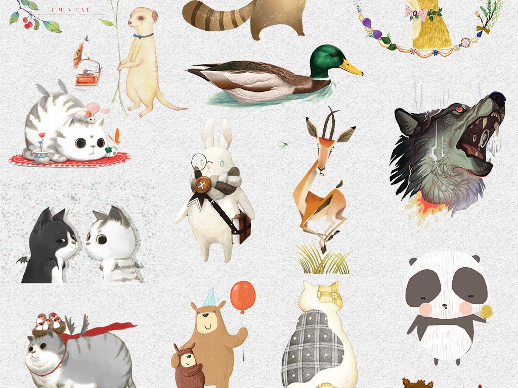 唯美水彩手绘森系动物png免抠设计素材