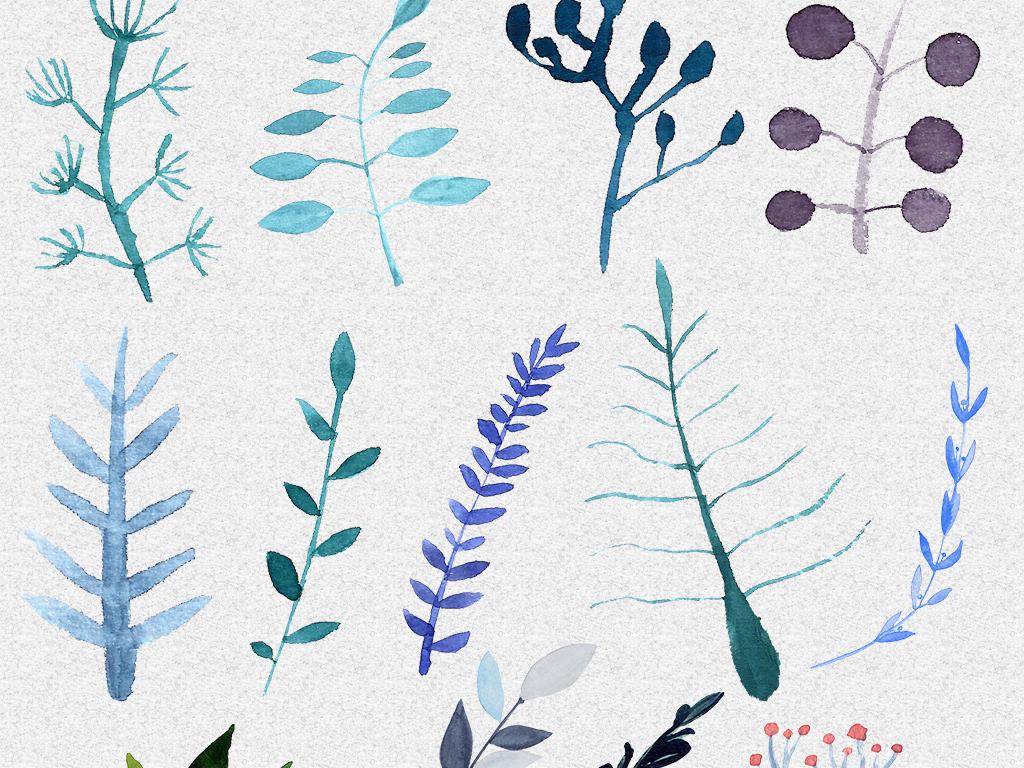 黑猫手绘叶子叶子diy组合元素插画
