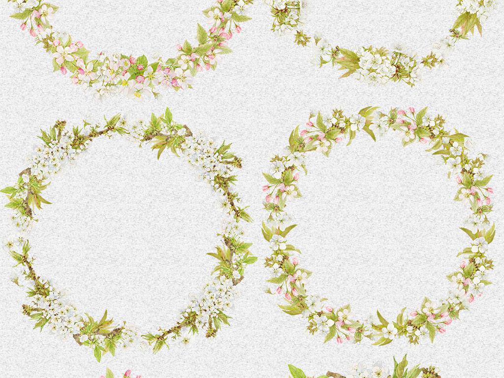 手绘花水彩花朵梦幻花玫瑰花环花藤卡通花饰装饰花花卉边框绿色花朵