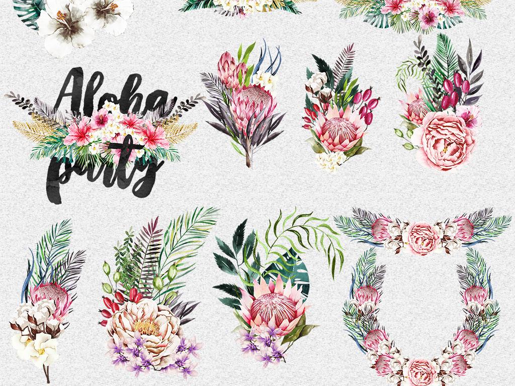 手绘水彩花束花环花朵树叶diy设计素材