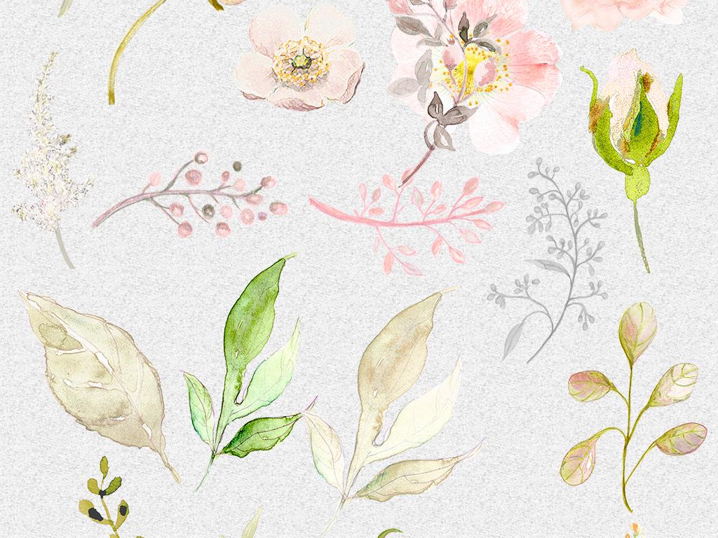 花蕊手绘水彩文艺小清新水彩树叶图片