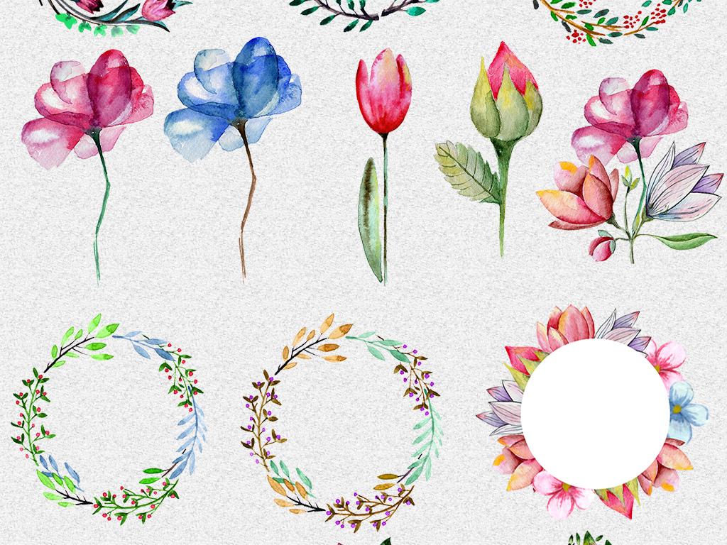 手绘水彩花朵花环爱心png免抠设计素材(图片编号:)