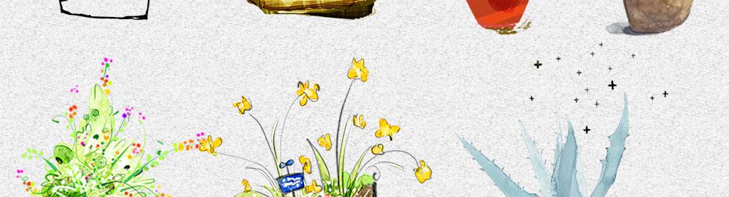 水彩手绘黑白线稿花盆盆栽png免抠素材