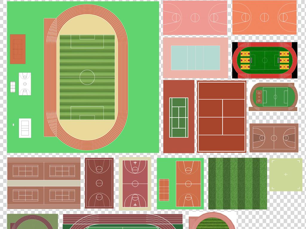 手绘平面图素材彩色平面图花草树木园林素材植物平面图园林景观设计
