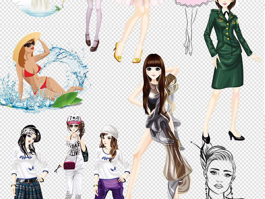 多款手绘彩绘卡通时尚美女免扣素材图片_模板下载(32.