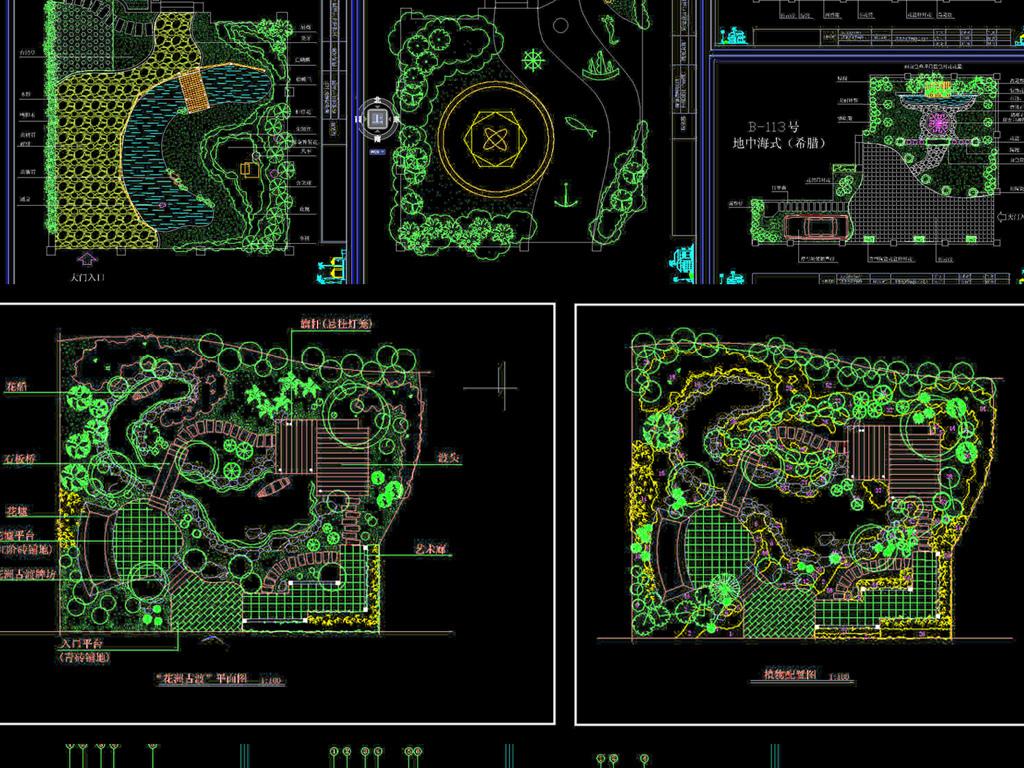 设计作品简介: 别墅园林绿化图纸,,使用软件为 autocad 2012(.