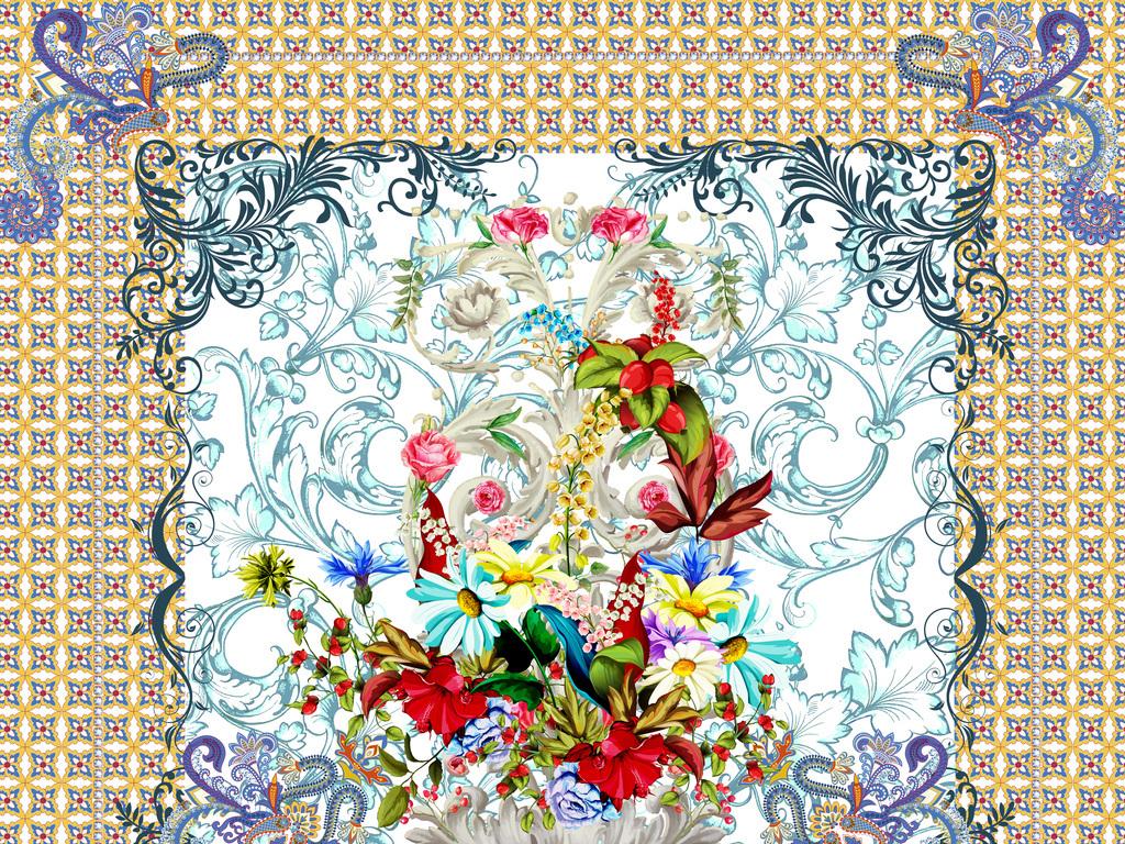 民俗摩洛哥瓷砖纹团花几何多边形数码印花壁画背景墙花纹欧式图片
