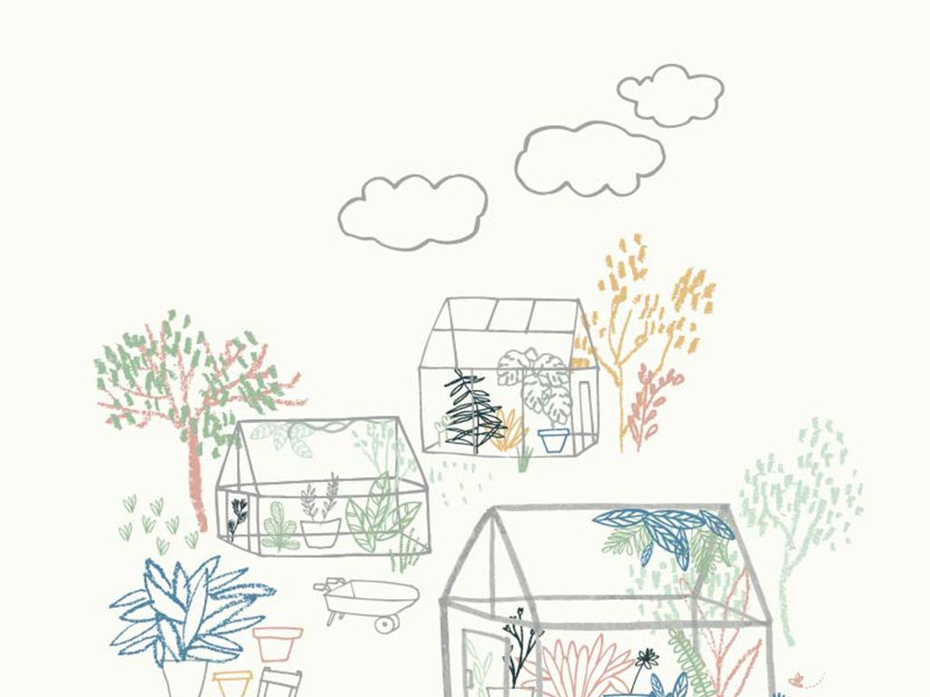 卡通粉笔插画风景建筑树房屋云朵