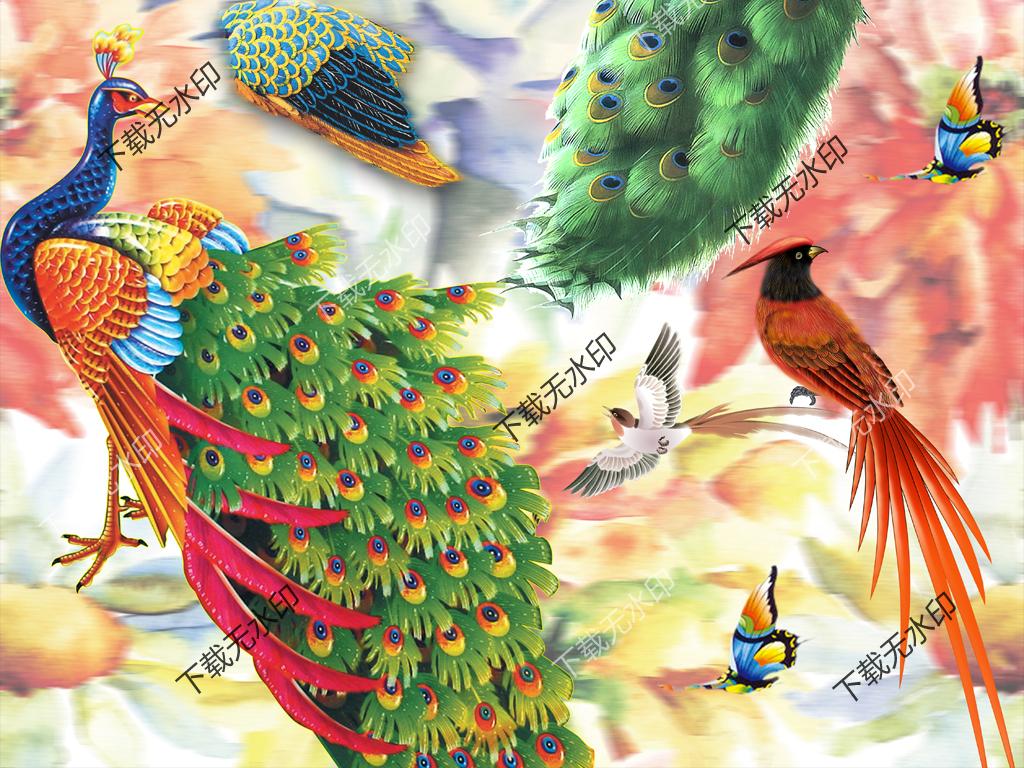 孔雀鹦鹉拼图数码印花服装面料花型设计