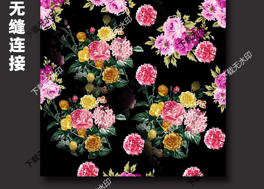 手绘牡丹玫瑰图案数码印花服装面料花型设计