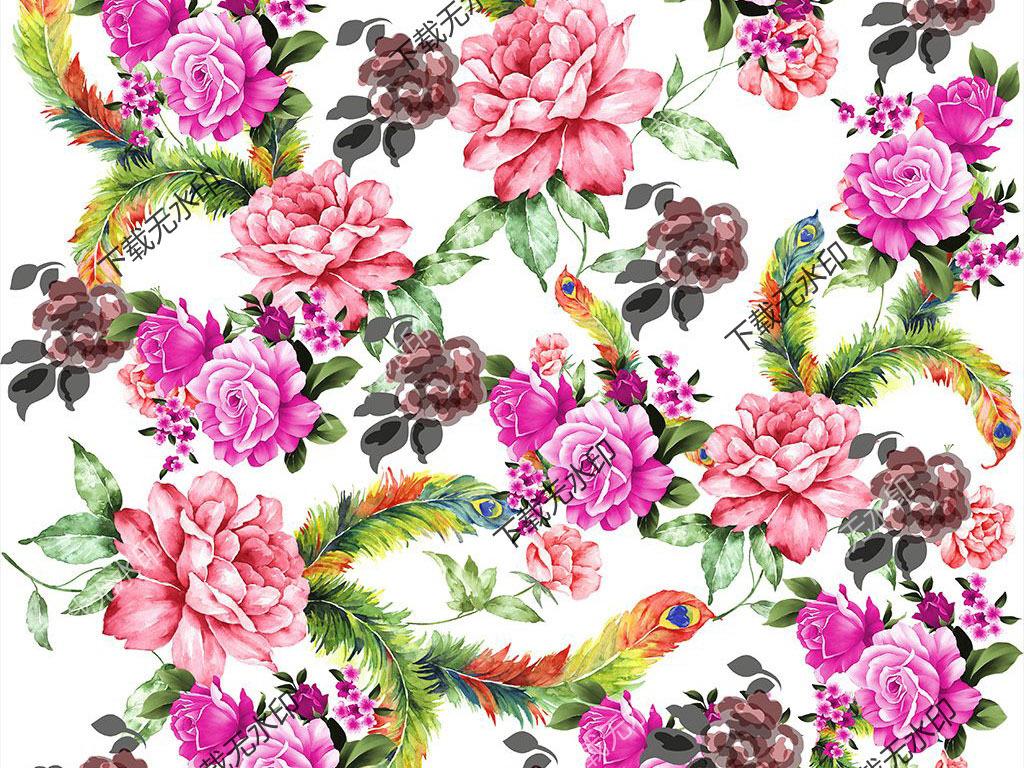 时候孔雀羽毛花卉图案数码印花服装花型设计
