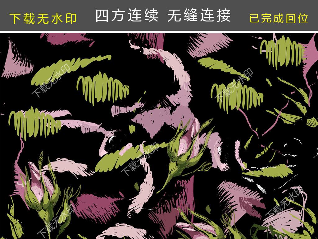 手绘线条图花卉碎片图案数码印花服装花型