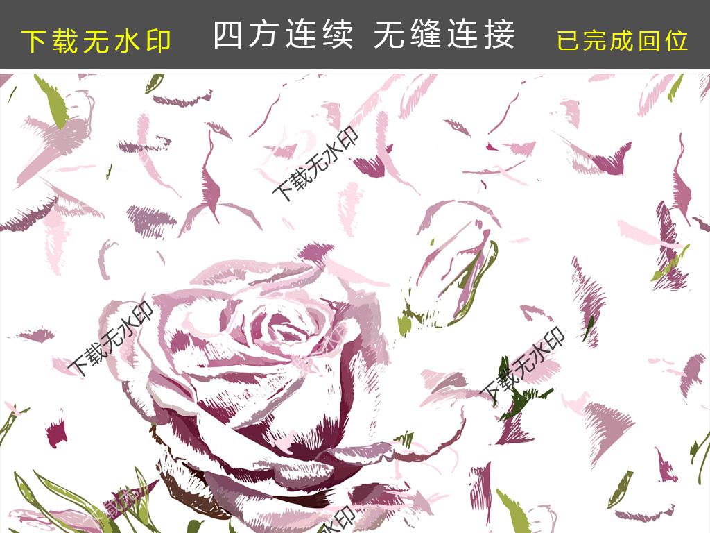 玫瑰花碎片线条图案传统花型服装面料设计