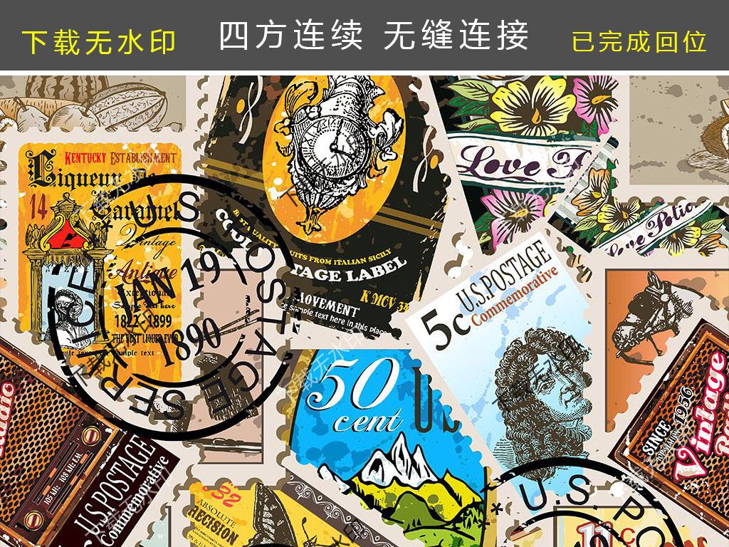 手绘欧式邮票印章图案数码印花服装面料花型