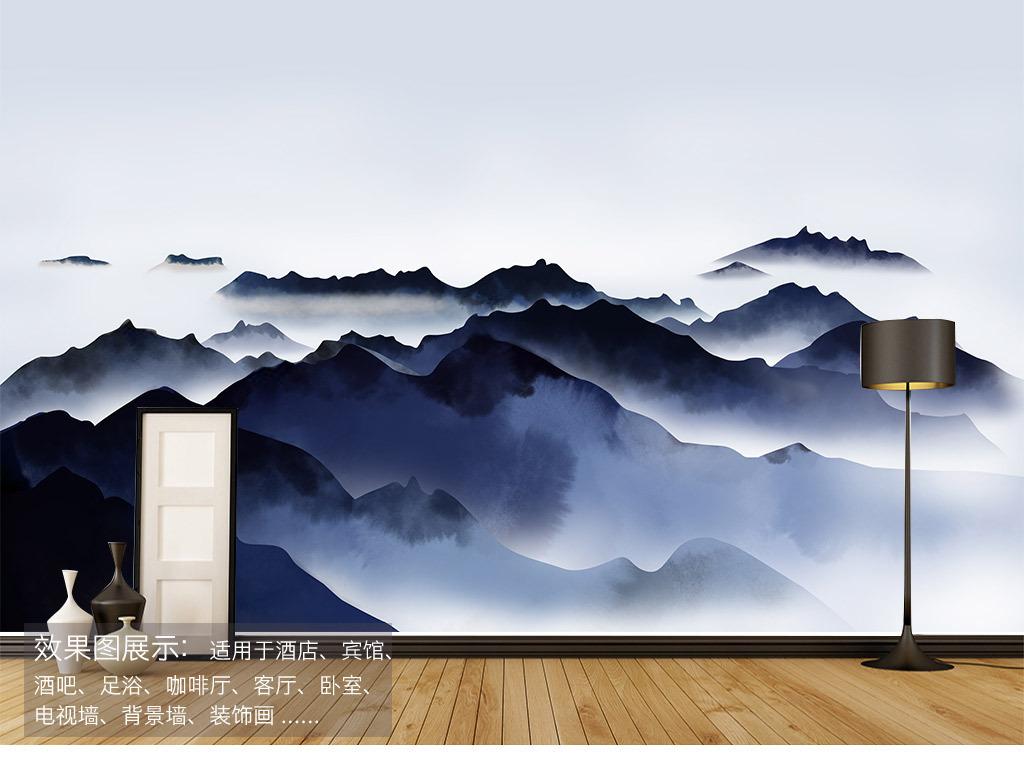 手绘青山云海胜景背景墙装饰画