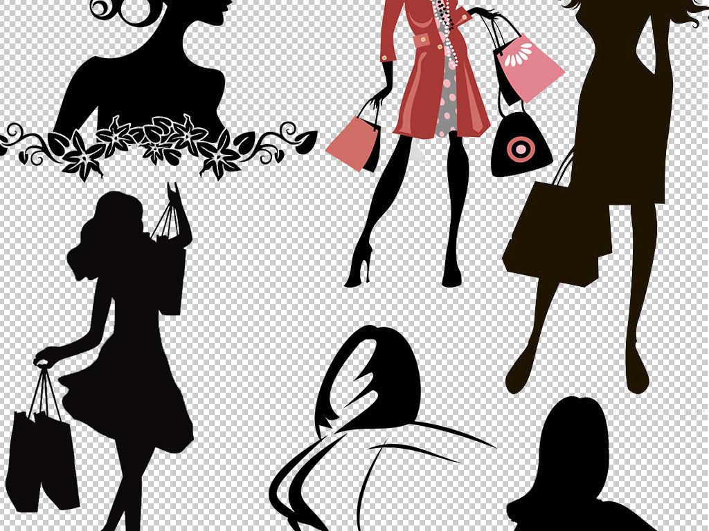 手绘现代美女美女线稿彩绘美女潮流女性人物剪影优雅时尚美女韩国时尚