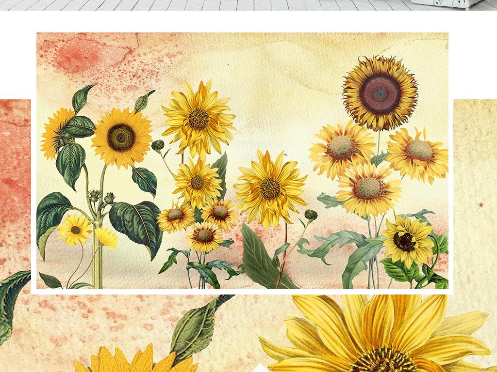 复古向日葵手绘背景墙装饰画