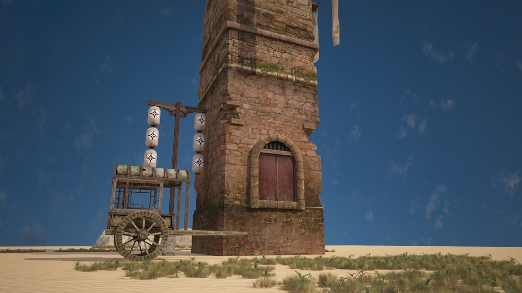沙漠戈壁中的中国古建哨塔箭塔建筑3d模型的渲染材质灯光