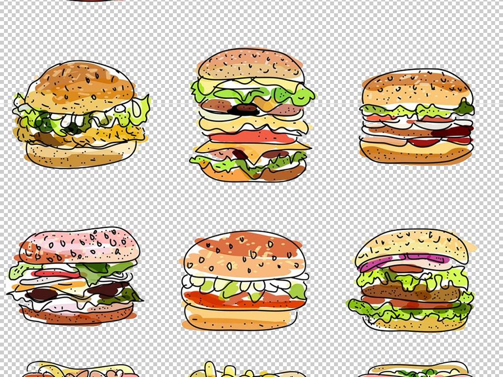 免扣矢量下午茶点心汉堡面包卡通元素