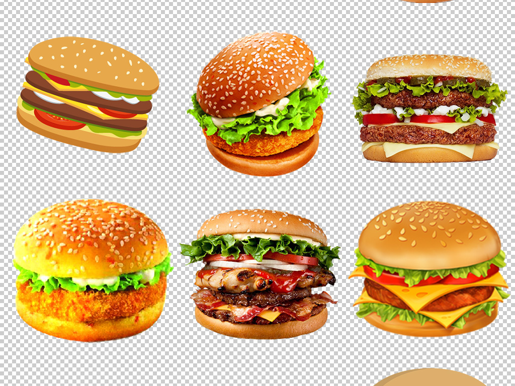 麦当劳肯德基汉堡包可乐薯条下午茶点心元素