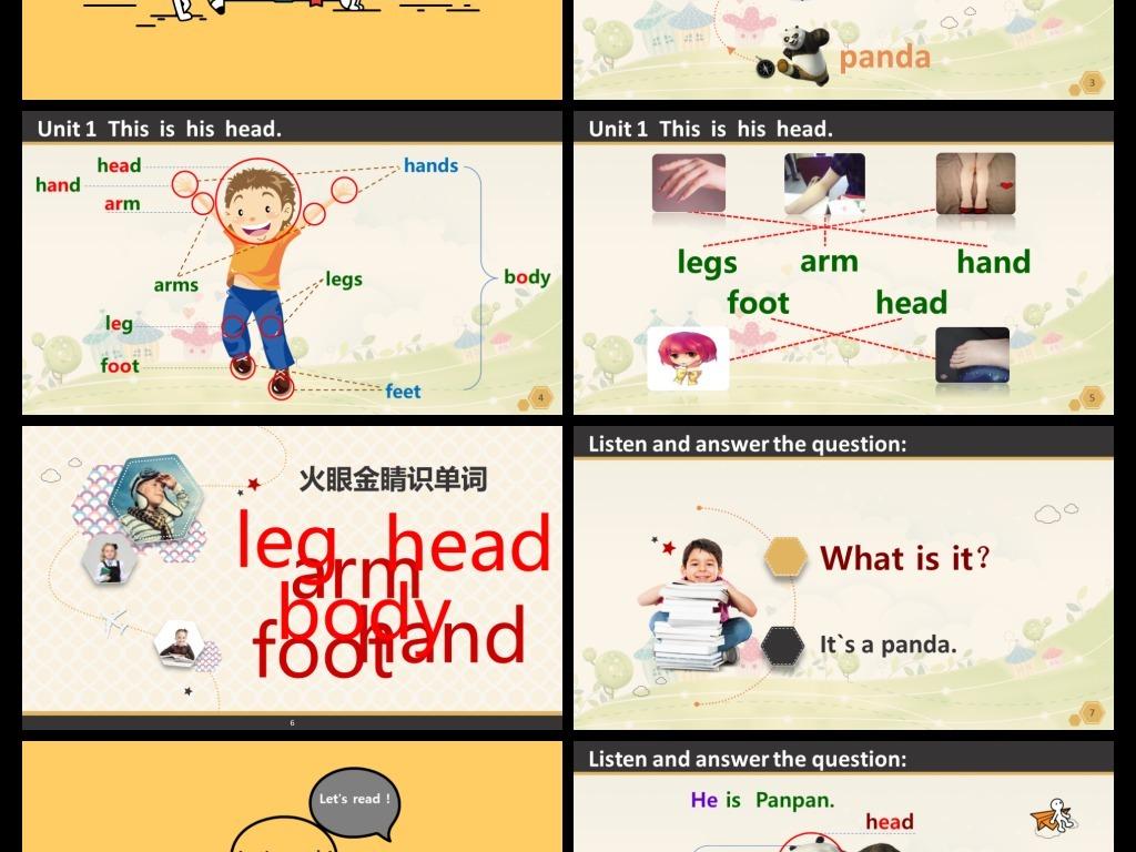 可爱卡通幼儿园儿童英文教学课件PPT模板