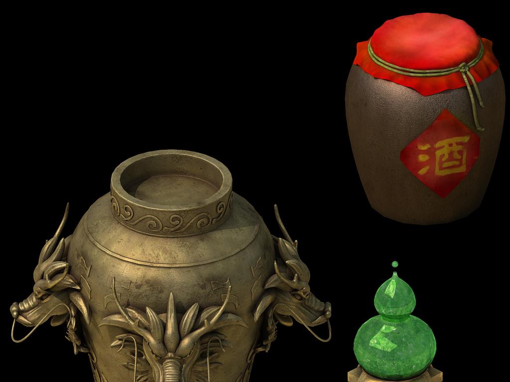 3D游戏酒坛子酒葫芦酒樽模型设计图下载 图片81.21MB 游戏动漫库