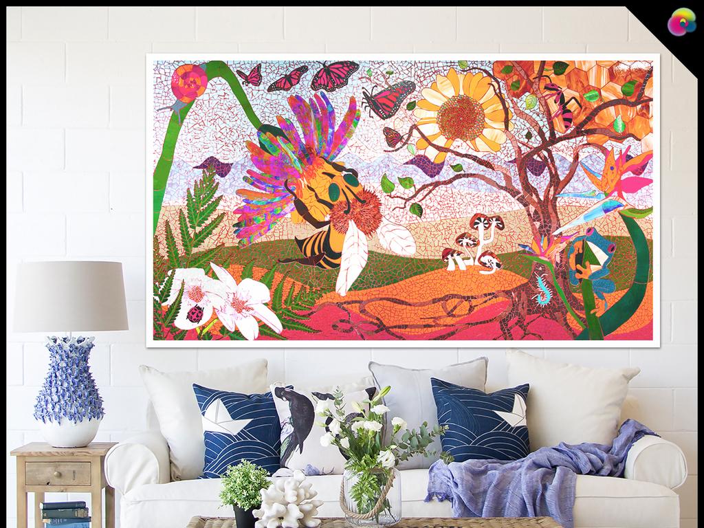 美克美家樱花装饰画北欧简约手绘花鸟森林