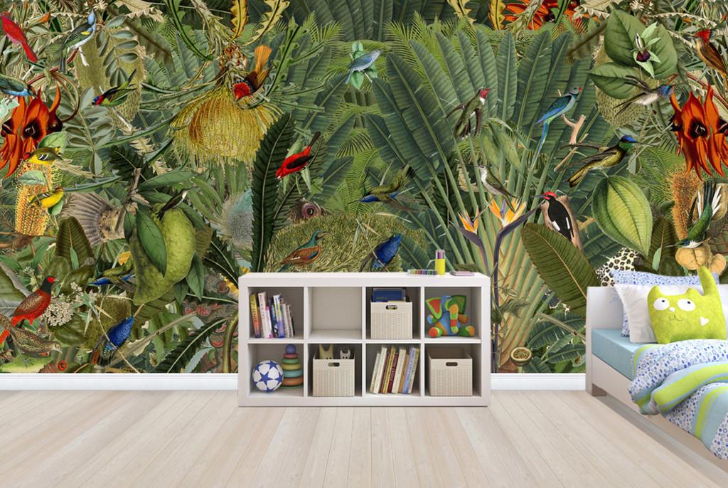 热带雨林植物花鸟鹦鹉背景墙