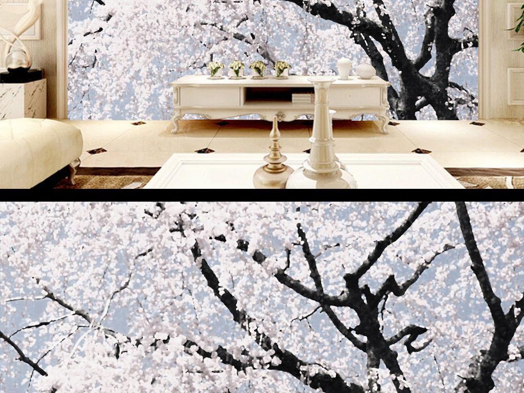 春花烂漫新中式唯美意境现代客厅电视背景墙 位图, rgb格式高清大图图片