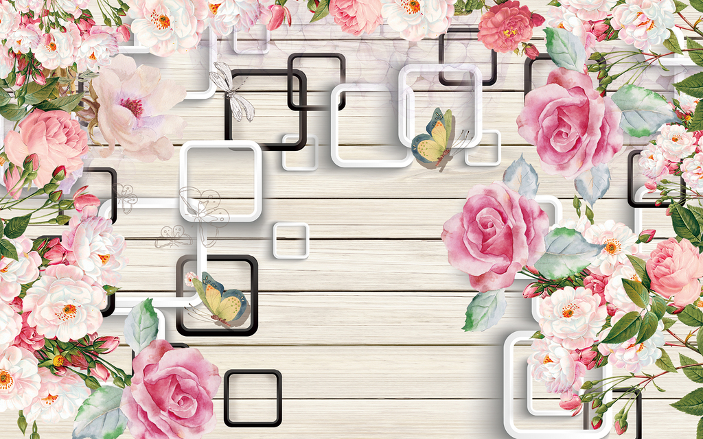 方框木条手绘玫瑰花水彩背景墙