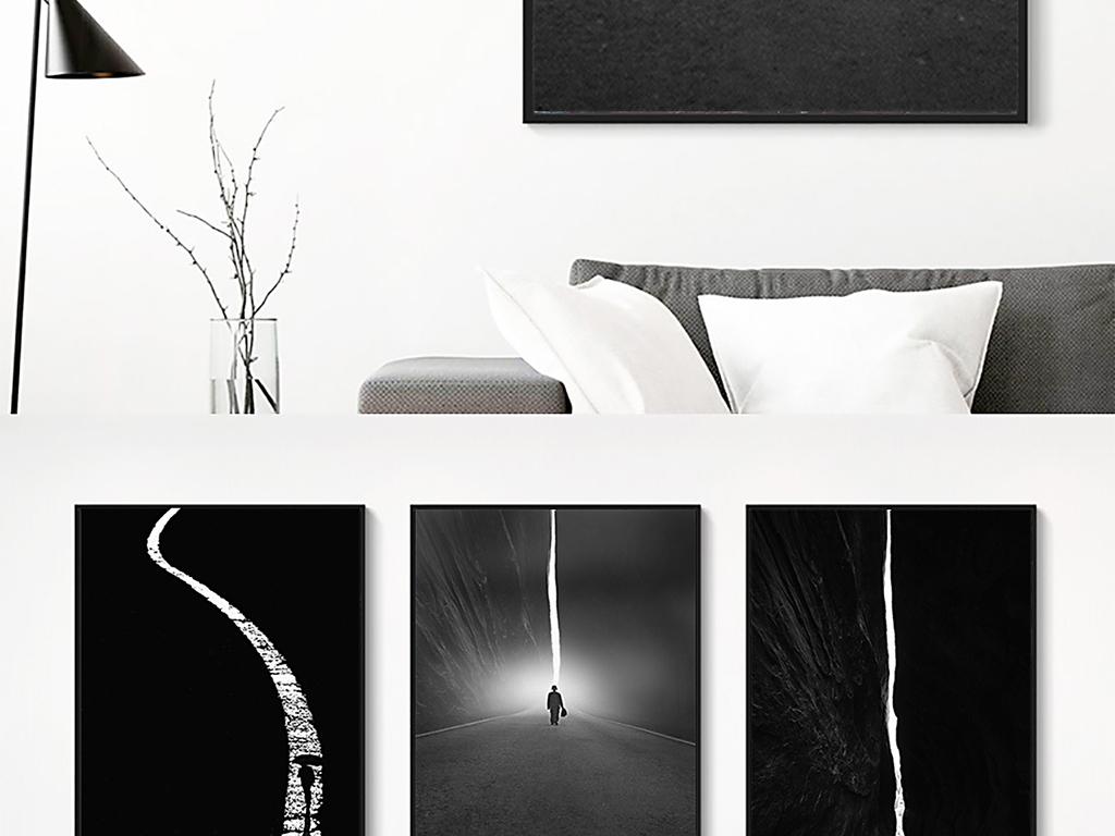 北欧现代黑白抽象剪影人物装饰画
