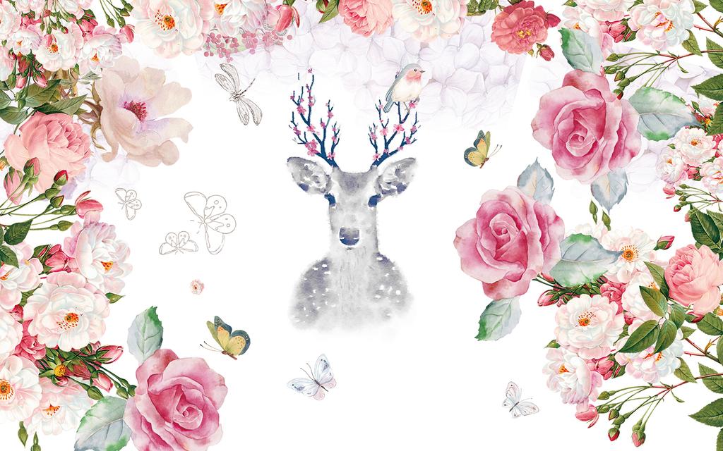 北欧手绘玫瑰花麋鹿水彩背景墙