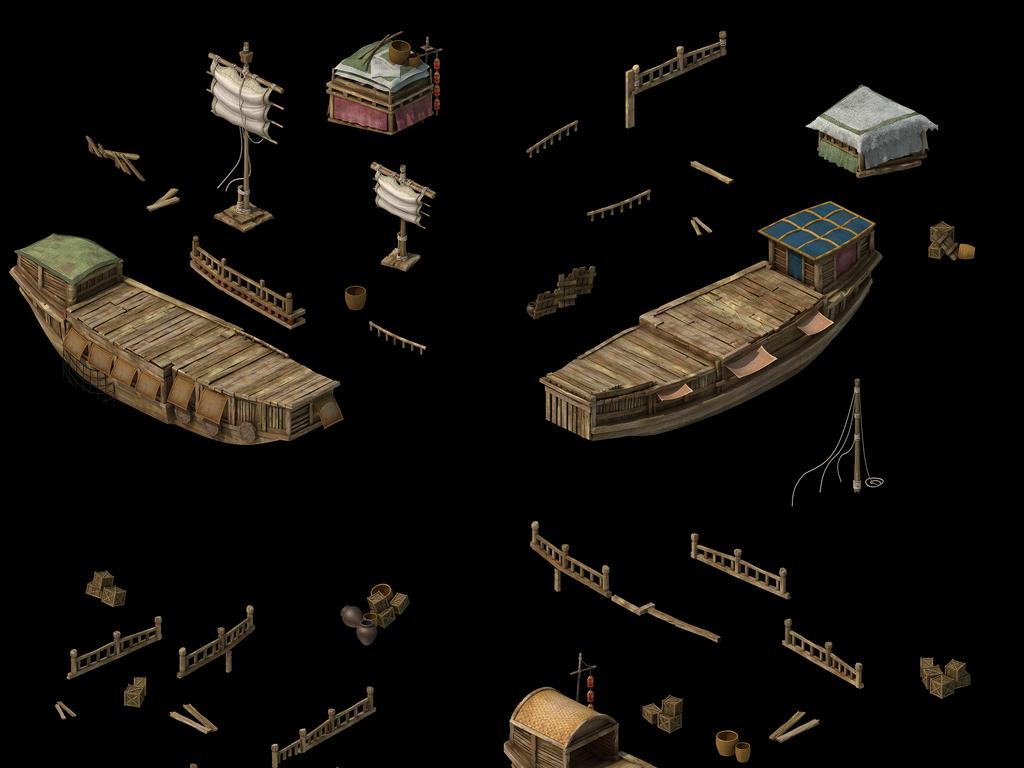 3d古代渔船木船战船模型船帆船围栏素材