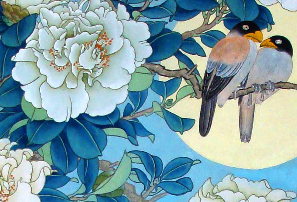 新中式牡丹花鸟时尚工笔画装饰画无框画