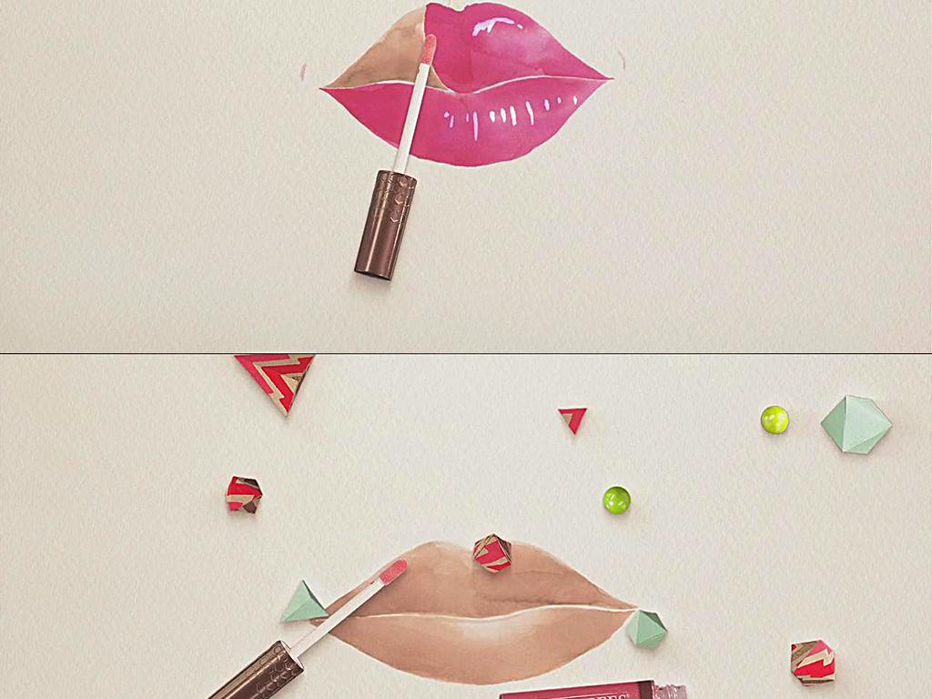 口红唇膏宣传视频涂唇手绘视频